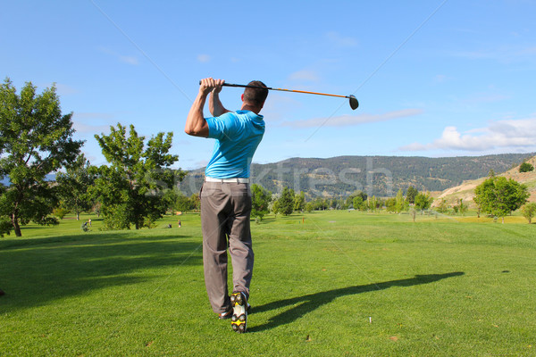 Сток-фото: выстрел · молодые · мужчины · гольфист · драйвера · гольф