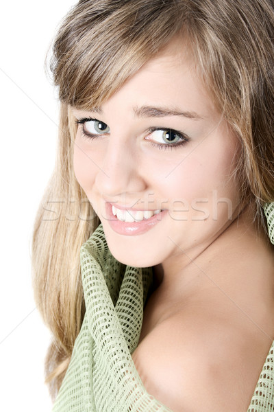 Tinilány gyönyörű tini női angyali arc Stock fotó © vanessavr