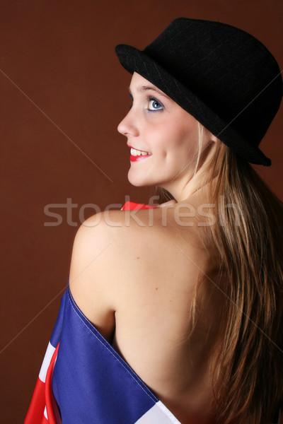 Brit zászló gyönyörű fiatal női modell utazás Stock fotó © vanessavr