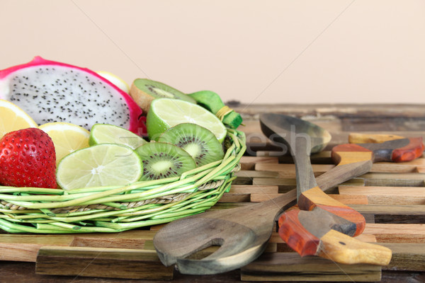 фрукты корзины зеленый тропические белый Сток-фото © vanessavr