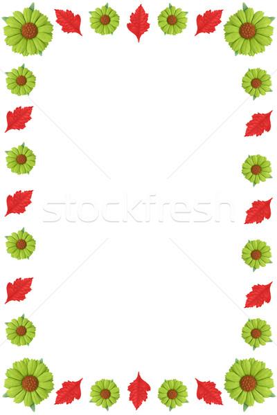 フローラル 国境 緑 花 赤 葉 ストックフォト © vanessavr