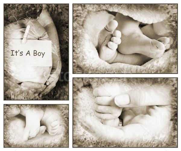 Foto stock: Bebês · coleção · bebê · pé · mãos · grávida