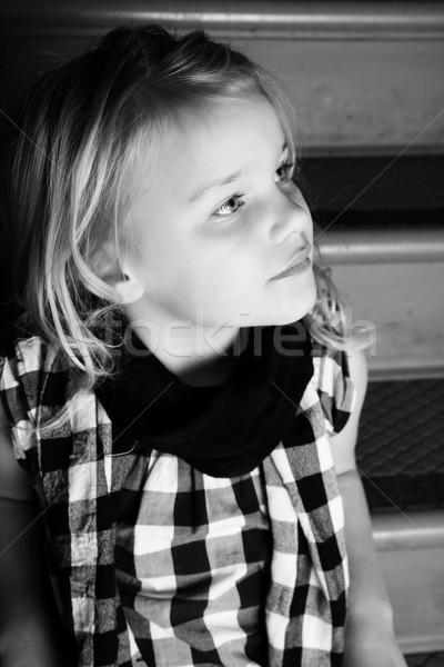 девочку девушки сидят лестница серьезный Сток-фото © vanessavr