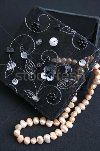 ювелирные изделия окна черный строку жемчуга Сток-фото © vanessavr