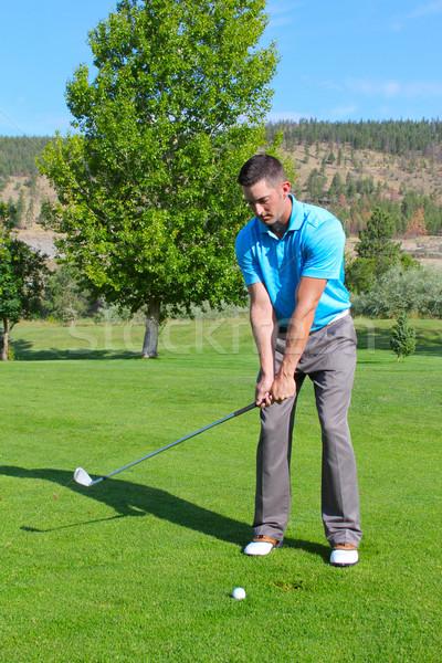 Jóvenes golfista tiro hierro golf verde Foto stock © vanessavr