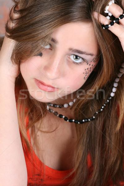 Tinilány arc festék divatos ékszerek gyönyörű Stock fotó © vanessavr