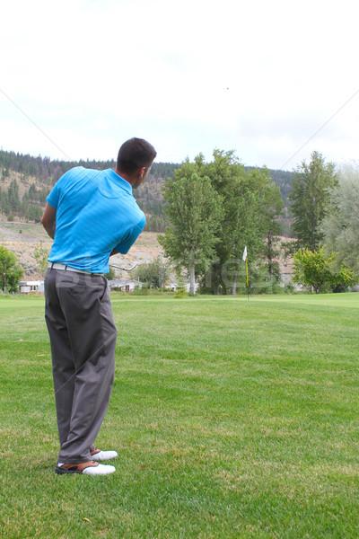 Zdjęcia stock: Shot · młodych · golfa · żelaza · człowiek · golf
