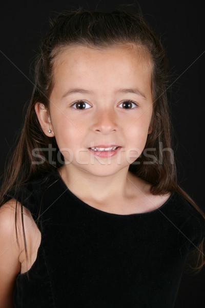 девочку Cute мало брюнетка девушки черный Сток-фото © vanessavr