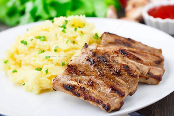 焼き リブ ジャガイモ プレート 食品 白 ストックフォト © vankad