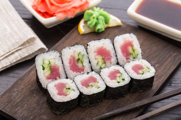 Sushi ton balığı salatalık gıda Stok fotoğraf © vankad