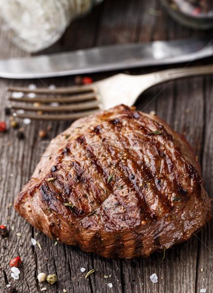 Bife delicioso grelhado temperos jantar Foto stock © vankad