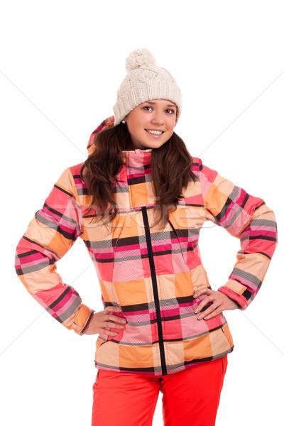 Nő visel meleg ruházat portré szín Stock fotó © vankad