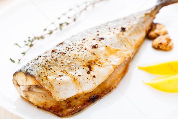 Gebakken makreel heerlijk witte plaat vis Stockfoto © vankad