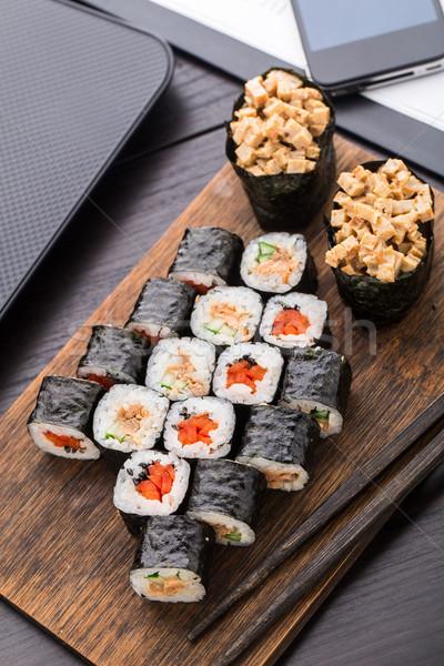 クイック 寿司 ランチ オフィス 食品 電話 ストックフォト © vankad