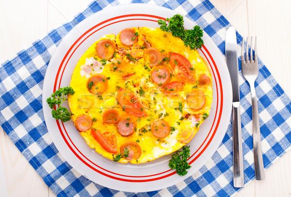 Stockfoto: Worst · tomaat · kruiden · voedsel · Blauw