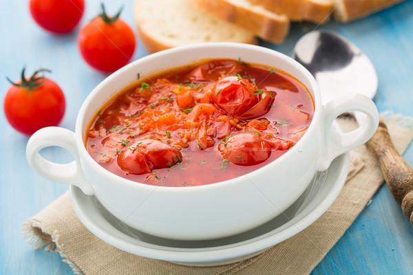 Zupa jarzynowa puchar pomidorki marchew ziemniaczanej kapusta Zdjęcia stock © vankad