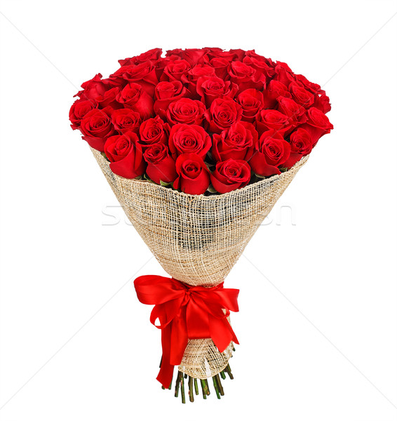 Flower bouquet of 50 red roses Stock photo © vankad