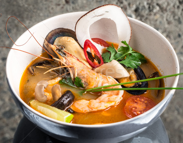 Tom Yum Goong thai soup Stock photo © vankad