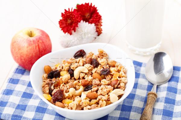 здорового мюсли завтрак орехи изюм высушите Сток-фото © vankad