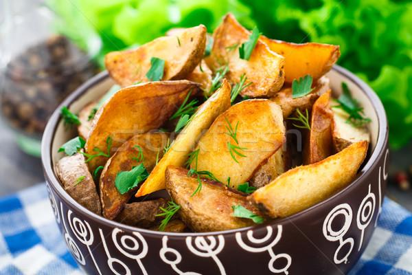 Batata delicioso frito comida vegetal prato Foto stock © vankad