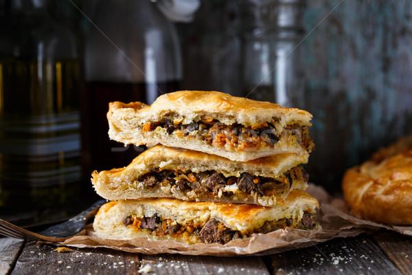 Homemade pie stuffed with liver Stock photo © vankad