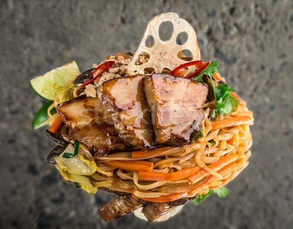 Udon noodles with pork brisket Stock photo © vankad