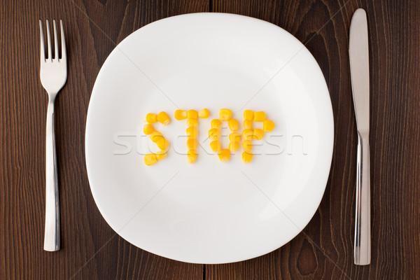 Foto d'archivio: Parola · stop · mais · semi · piatto · bianco