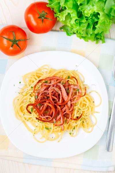 Spaghetti ham plaat pasta tomaat Stockfoto © vankad