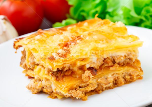 Italiana lasagna piatto bianco alimentare Foto d'archivio © vankad