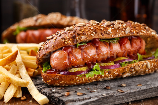 Barbecue grilled hot dog  Stock photo © vankad
