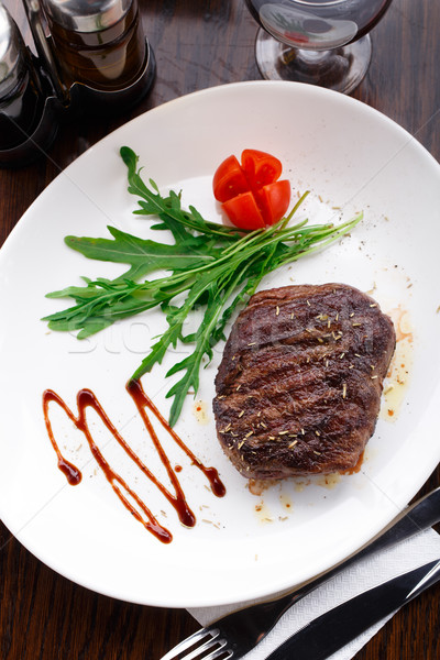 Grilled beefsteak on a plate Stock photo © vankad