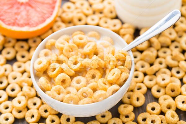 çanak bal mısır halkalar günlük kahvaltı Stok fotoğraf © vankad