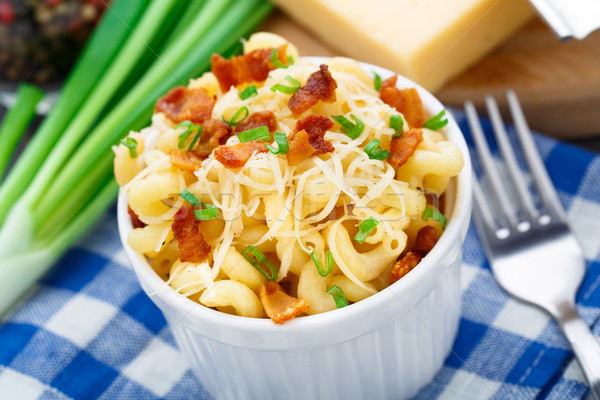 Mac and cheese with bacon Stock photo © vankad