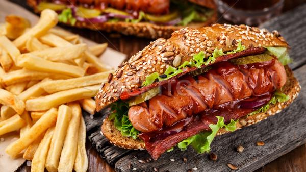 Сток-фото: барбекю · гриль · Hot · Dog · картофель · фри · обеда · красный