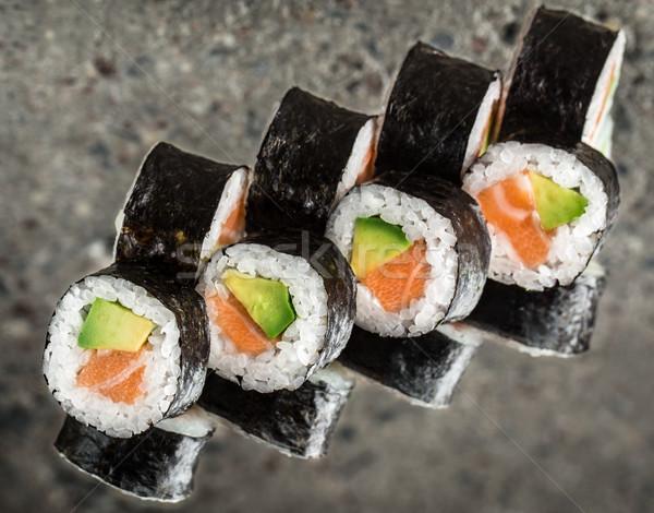 Sushi rotolare salmone avocado texture alimentare Foto d'archivio © vankad