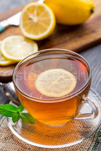 Fincan çay nane limon ahşap masa kahvaltı Stok fotoğraf © vankad