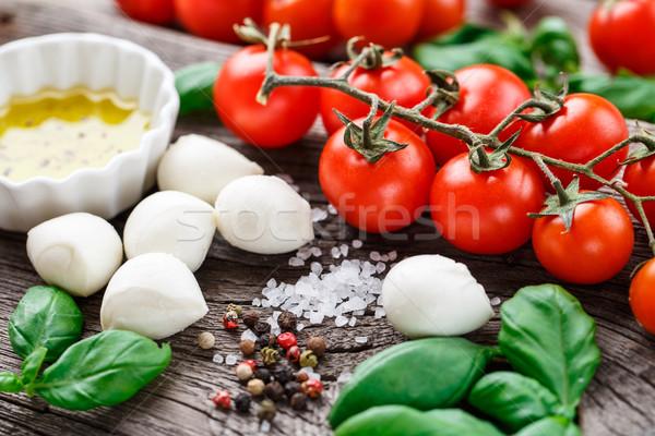 салат Капрезе Ингредиенты помидоры черри базилик листьев моцарелла Сток-фото © vankad