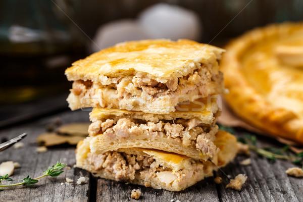 домашний пирог фаршированный куриные яйца Сток-фото © vankad