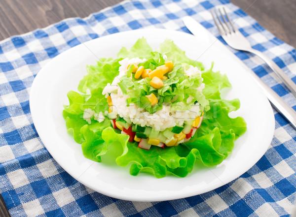 Yengeç salata mayonez plaka tablo bıçak Stok fotoğraf © vankad