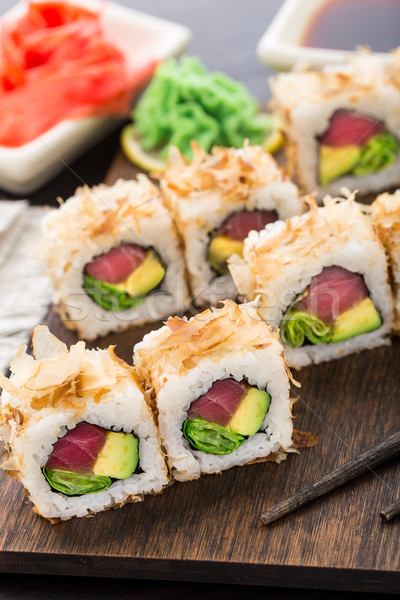 Sushi roll with tuna Stock photo © vankad