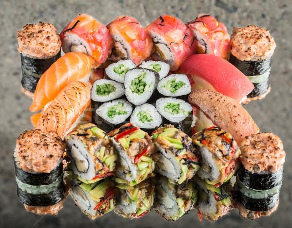 Sushi set on concrete background Stock photo © vankad
