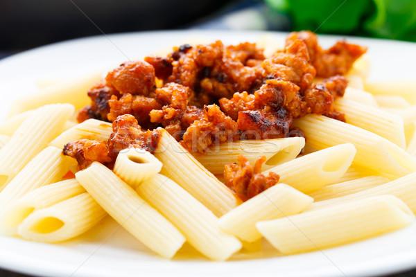 Сток-фото: пасты · соус · болоньезе · пластина · еды · блюдо