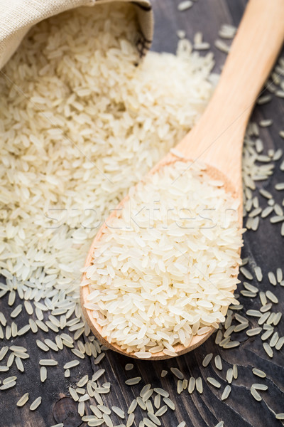 White uncooked rice in a spoon Stock photo © vankad