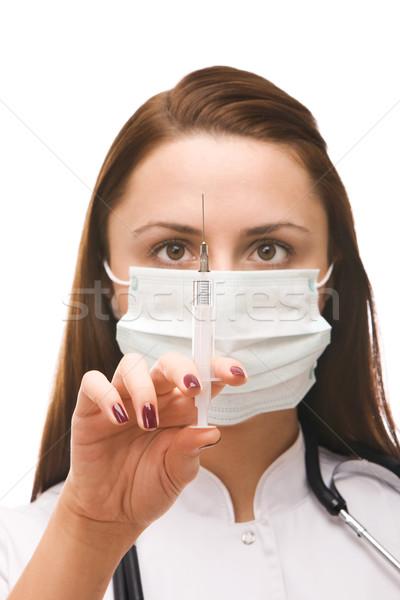 Médico vacunación inyección blanco feliz Foto stock © vankad