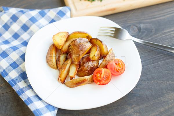 Aardappel plaat voedsel Blauw Stockfoto © vankad