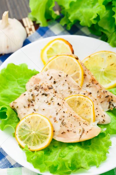 Pechuga de pollo limón ajo placa alimentos pollo Foto stock © vankad