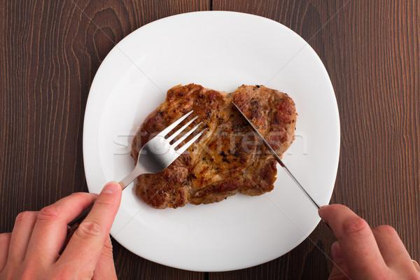 кто-то еды гриль стейк белый пластина Сток-фото © vankad
