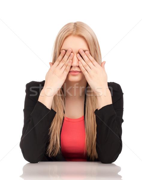Iş kadını gözler iş el göz Stok fotoğraf © vankad