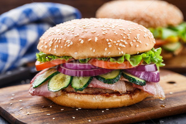 Bacon burger with vegetables and cutlet Stock photo © vankad