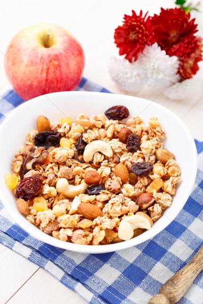 Sağlıklı müsli kahvaltı kuru üzüm kuru meyve Stok fotoğraf © vankad